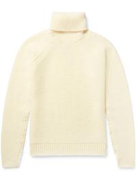 Jersey de cuello alto de lana en beige de Maison Margiela