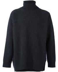 Jersey de cuello alto de lana en gris oscuro