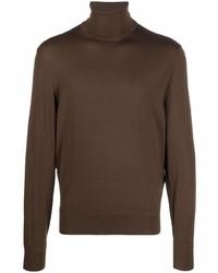 Jersey de cuello alto de lana en marrón oscuro de Tom Ford