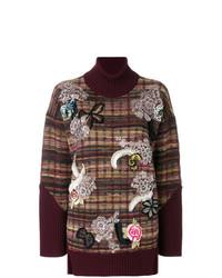 Jersey de cuello alto de lana estampado burdeos de Antonio Marras