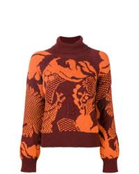 Jersey de cuello alto de lana estampado burdeos de Barrie