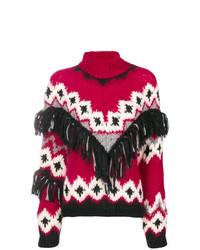 Jersey de cuello alto de lana estampado burdeos de Oneonone