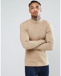 Jersey de cuello alto de lana marrón claro de Asos