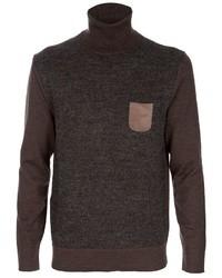 Jersey de cuello alto de lana marrón de Paolo Pecora