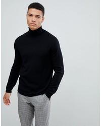 Jersey de cuello alto de lana negro de ASOS DESIGN