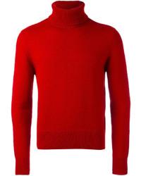 Jersey de cuello alto de lana rojo