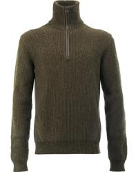 Jersey de cuello alto de lana verde oliva de Lanvin
