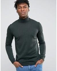 Jersey de cuello alto de lana verde oscuro de Asos
