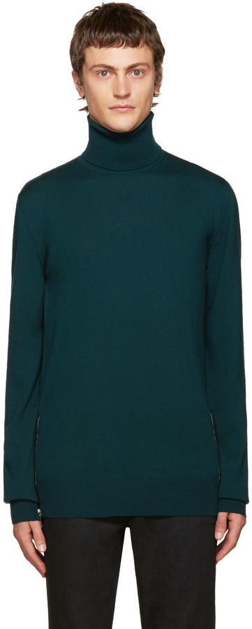 Jersey de cuello alto de lana verde oscuro de Balmain