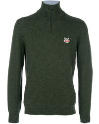 Jersey de cuello alto de lana verde oscuro de Kenzo