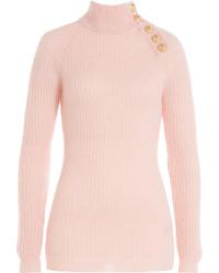 Jersey de cuello alto de mohair rosado