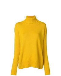 Jersey de cuello alto de punto amarillo