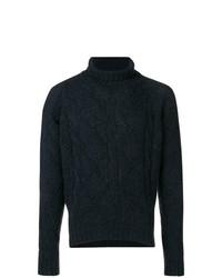 Jersey de cuello alto de punto azul marino de Jil Sander