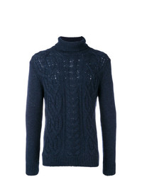 Jersey de cuello alto de punto azul marino de Tagliatore