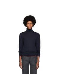 Jersey de cuello alto de punto azul marino de Thom Browne