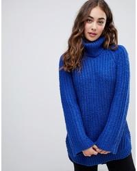 Jersey de cuello alto de punto azul de Vero Moda