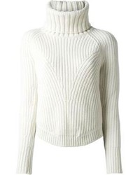 Jersey de cuello alto de punto blanco