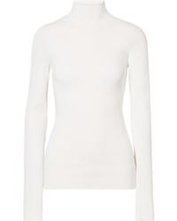 Jersey de cuello alto de punto blanco de Helmut Lang