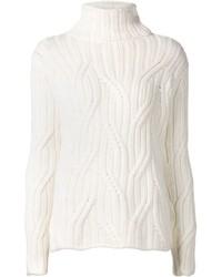 Jersey de cuello alto de punto blanco de Loro Piana