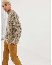 Jersey de cuello alto de punto en beige de ASOS DESIGN
