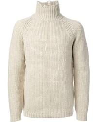 Jersey de cuello alto de punto en beige