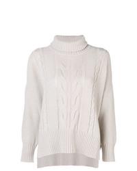 Jersey de cuello alto de punto en beige de Lorena Antoniazzi