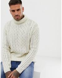 Jersey de cuello alto de punto en beige de Pull&Bear