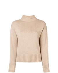 Jersey de cuello alto de punto en beige de Yves Salomon