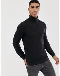 Jersey de cuello alto de punto en gris oscuro de ASOS DESIGN