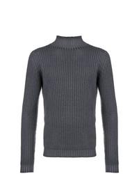Jersey de cuello alto de punto en gris oscuro de Dell'oglio