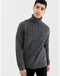 Jersey de cuello alto de punto en gris oscuro de Pier One