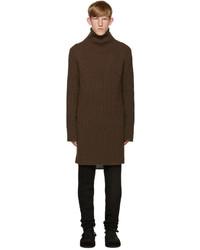 Jersey de cuello alto de punto en marrón oscuro de Ann Demeulemeester