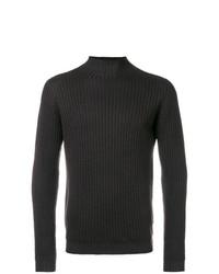 Jersey de cuello alto de punto en marrón oscuro de Dell'oglio