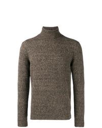 Jersey de cuello alto de punto en marrón oscuro de Lardini