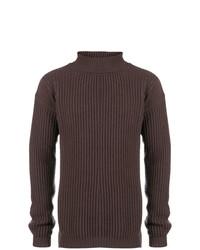 Jersey de cuello alto de punto en marrón oscuro de Rick Owens
