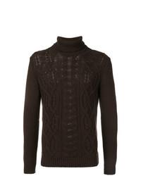 Jersey de cuello alto de punto en marrón oscuro de Tagliatore