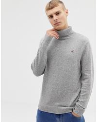 Jersey de cuello alto de punto gris de Hollister