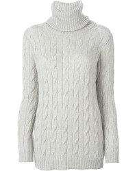 Jersey de cuello alto de punto gris de Ralph Lauren
