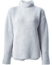 Jersey de cuello alto de punto gris de Rochas