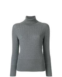 Jersey de cuello alto de punto gris de Thom Browne