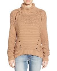 Jersey de cuello alto de punto marrón claro
