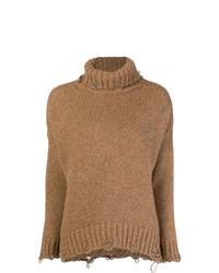 Jersey de cuello alto de punto marrón claro de Maison Flaneur