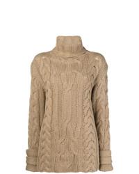 Jersey de cuello alto de punto marrón claro de Michel Klein