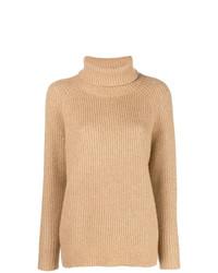 Jersey de cuello alto de punto marrón claro de Nili Lotan