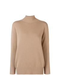 Jersey de cuello alto de punto marrón claro de 'S Max Mara