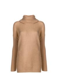 Jersey de cuello alto de punto marrón claro de Twin-Set