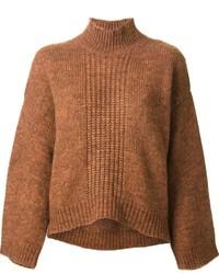 Jersey de cuello alto de punto marrón