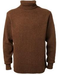 Jersey de cuello alto de punto marrón de CITYSHOP