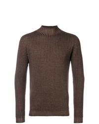 Jersey de cuello alto de punto marrón de Dell'oglio