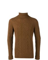 Jersey de cuello alto de punto marrón de Drumohr